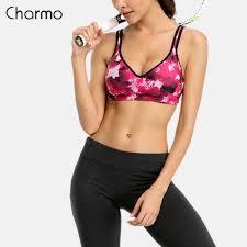 <b>Charmo Women's</b> Sports Bra Medium <b>Impact</b> Support Yoga Bra ...