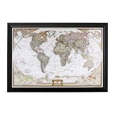 Push Pin Travel Maps Executive World with Black ... - Amazon.com
