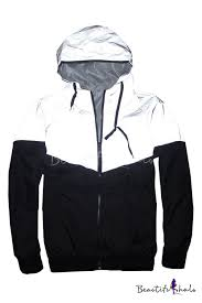 <b>3M Reflective Patchwork</b> Long Sleeve Zip Up Hooded Track Jacket ...