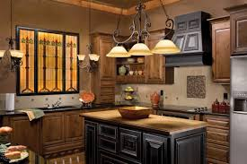 interesting small kitchen design with rustic touch feat adorable hanging pendant lamp kitchen lighting ideas over black granite countertop and beautiful black kitchen island lighting