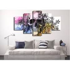 HD 5 Pcs <b>Skull</b> and <b>Flowers Wall Art</b> Canvas | <b>Skullflow</b> | <b>Skull</b> wall ...