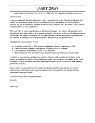 cover letter for operations template cover letter for operations
