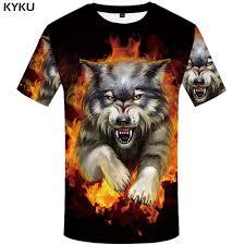 <b>KYKU Wolf T shirt Men</b> Flame Tshirt Aggressive Anger Shirts 3d T ...