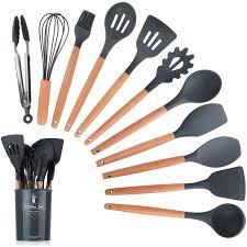 <b>11pcs Silicone Cooking</b> Kitchen Utensils Set, Wooden Handles ...