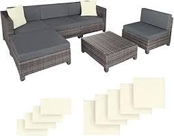 TecTake rattan aluminium <b>garden furniture</b> sofa set outdoor wicker + ...