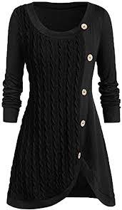 HebeTop Plus Size Women Tops O-Neck Long Sleeve <b>Solid</b> Button ...