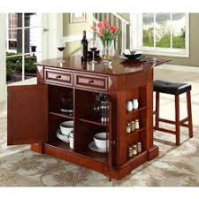 crosley furniture coventry drop leaf breakfast bar kitchen island with stools in cherry breakfast bars furniture