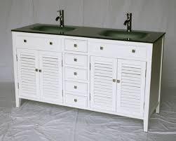 bathroom vanity 60 inch:  inch bathroom vanity cottage style white cabinet glass top