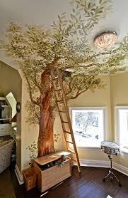 minimalist kids bedroom design with wonderful tree wallpaper corner beside small glass window as well stairs amazing kids bedroom