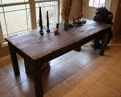 stained farmhouse dining table beautiful fishing lake cabin dark walnut stained primitive farm house