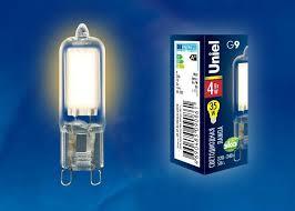 (UL-00001815) <b>Uniel G9 4W</b> 3000K прозрачная <b>LED</b>-<b>JCD</b>-<b>4W</b>/<b>WW</b> ...