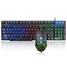 <b>MK100</b> Backlit Computer <b>Wired USB Keyboard</b> And Mouse Set ...