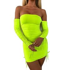 Women's Neon Green Ruched Off Shoulder Long <b>Sleeve Bodycon</b> ...