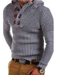 <b>ZOGAA</b> Hooded Sweater Men Horn Buckle Knitted Pullovers <b>2019</b> ...