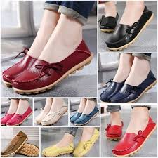 Plus <b>Size 34-44</b> Women's Genuine Leather Flat Shoes Causal ...