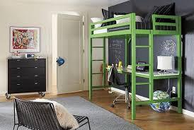 green black mesmerizing: bedroom mesmerizing bedroom teen decor with green loft bed combine study desk white countertop also black swivel chair on the wooden floor plus black