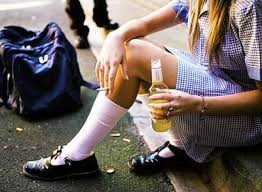 Teen Girl Smoking With A Beer