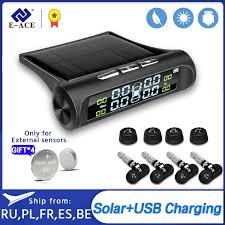 E ACE Solar Power <b>Smart Car TPMS Tyre</b> Pressure Monitoring ...