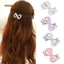 HY  Women Bowknot Rhinestone <b>Ponytail Spring</b> Hairpin <b>Hair Clip</b> ...
