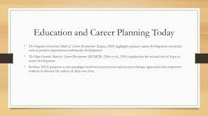 chapter promoting educational and career planning in schools 7 education and career planning today the integrative contextual model of career development lapan 2004 highlights primary career development constructs
