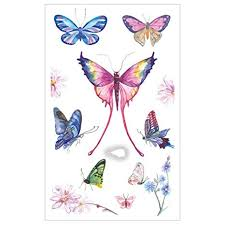 Womdee Temporary Tattoos for Kids, Butterfly Flower Cute Animals ...