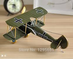 WWI Germany Fighter Plane Model Handmade Vintage Iron Sheet Colored Airplane Metal Craft Home Office Bar   I