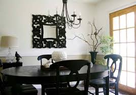 decorative wall mirror idea plus traditional black dining room furniture set design feat metal chandelier black wood dining room