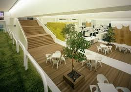 the whole point of the design of this office is to bring nature to the work place therefore you can see several nature inspired areas in the office and awesome office