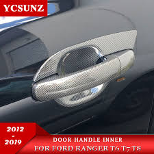 Car Styling Carbon Fiber Color Door Handle Inserts <b>For Ford</b> ...