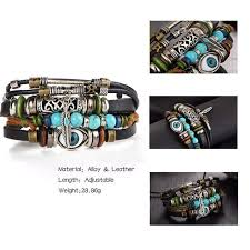 Online Shop IF YOU Puck <b>Feather Multilayer</b> Leather Bracelet Men ...