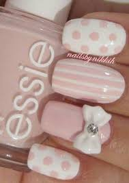 Pale <b>Pink</b> Nail Designs with Stripes, Polka Dots and Bows в 2019 г ...