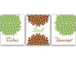 green and brown bathroom decor home decor wall art relax soak unwind green and brown wall art flower