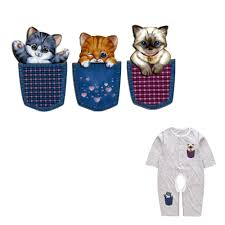 Cute Pocket <b>Cats</b> Series Heat <b>Transfer Patches</b> For Kids Household ...