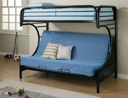 living room mattress: furniture blue fabric sofa bed with back on black metal bunk bed with blue
