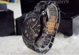 100% authentic emporio armani chrono black wristwatch each ar5905 100% authentic emporio armani chronograph rose gold ceramic men s watch ar1410
