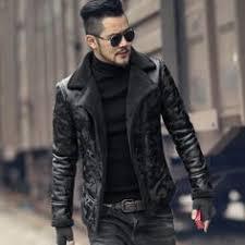Brand <b>Men</b> Leather Jacket pilot <b>Casual sheepskin</b> genuine Leather ...