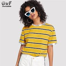 Dotfashion Yellow Letter Trim Striped Tee <b>2019 Summer Korean</b> ...