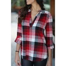 <b>Stylish Turn Down Neck Long</b> Sleeve Red Plaid Women's Shirt (com ...
