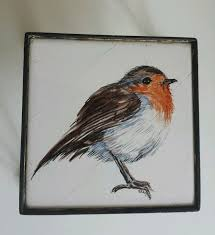 <b>Vintage Old Wrought Iron</b> Hand Painted Robin Tile Trivet Hot Plate ...