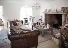 large leather chesterfield sofa sits at the heart of eclectic living room from rachel chic living room leather