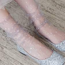 <b>Sequins</b> Star Shiny Socks Female Fairy Transparent short <b>Harajuku</b> ...