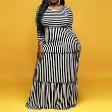 <b>Plus</b> Size Striped Dress Women <b>2019</b> Autumn African Style Office ...
