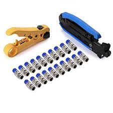 Hiija RG6 <b>Compression</b> Tool Coax Cable Crimper Kit RG6 RG11 ...