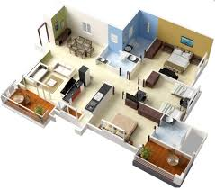 "Three "" "" Bedroom Apartment House Plans   Architecture  amp  Design  single floor   bedroom house plans"