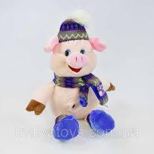 Мягкая игрушка <b>Свинка в шапке с</b> бубоном, 35 см, цена 220 грн ...