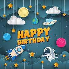 <b>Laeacco Cartoon</b> Spaceship Baby Birthday Party Moon Star ...