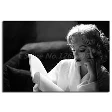 Marilyn Monroe Reading Wallpaper Wall <b>Art Canvas</b> Poster And ...