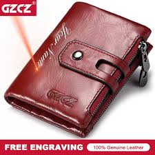 GZCZ Free Engraving Name <b>100</b>% <b>Genuine Leather Women</b> Wallet ...