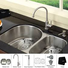 undermount kitchen sink stainless steel: kraus  inch undermount double bowl stainless steel kitchen sink with kitchen bar faucet amp soap