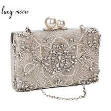 Apricot Silver Crystal Clutch <b>Bags Handmade Beaded Pearl</b> ...